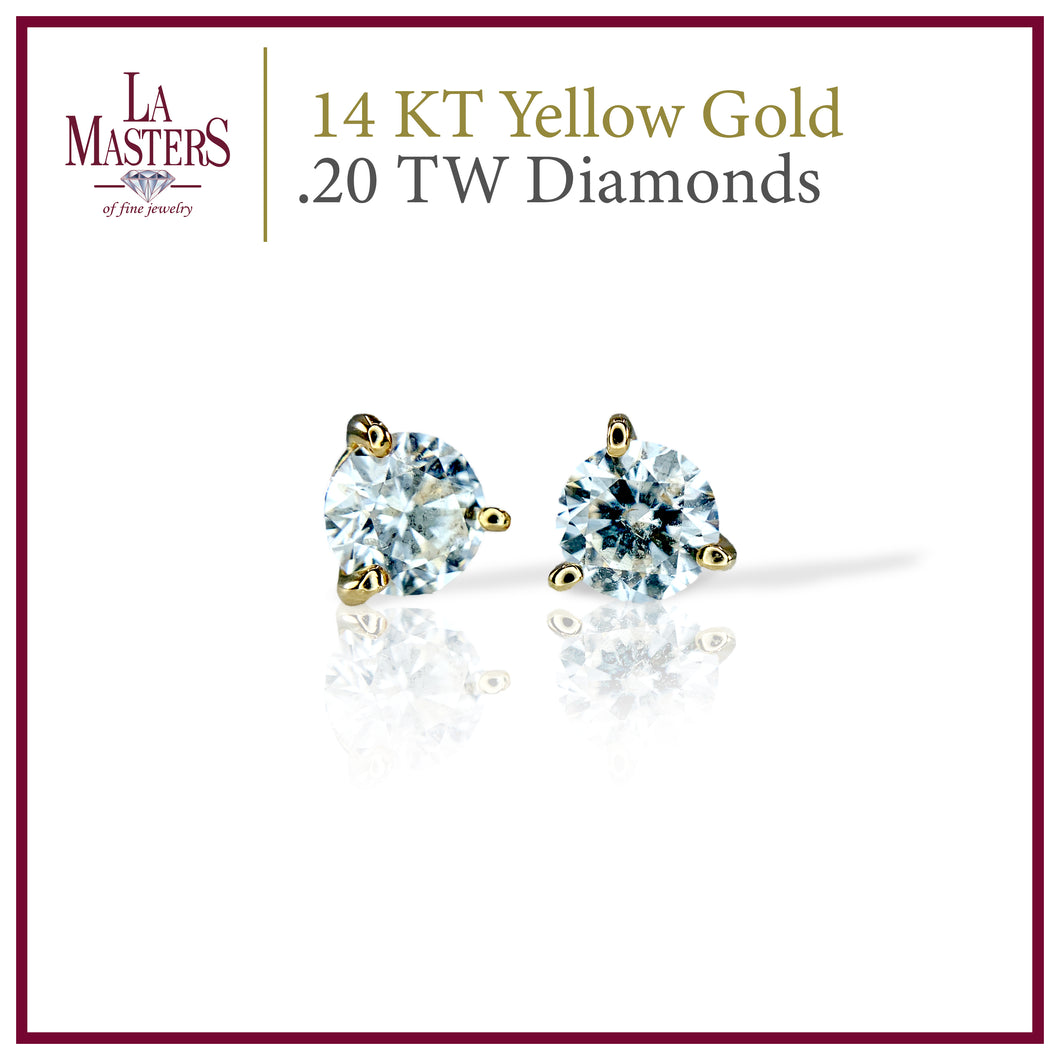 14 KT Yellow Gold Martini Stud Earrings W/ Round .20 TW Diamonds H-J SI2 And Push On Backs