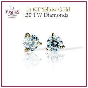 14 KT Yellow Gold Martini Stud Earrings W/ Round .30 TW Diamonds H-J SI2 And Push On Backs