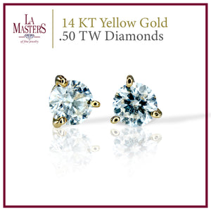 14 KT Yellow Gold Martini Stud Earrings W/ Round .50 TW Diamonds H-J SI2 And Push On Backs