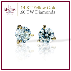 14 KT Yellow Gold Martini Stud Earrings W/ Round .60 TW Diamonds H-J SI2 And Push On Backs