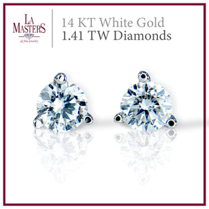 14 KT White Gold Martini Stud Earrings W/ Round 1.41 TW Diamonds H-J SI2 And Push On Backs