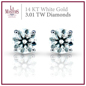 14 KT White Gold Martini Stud Earrings W/ Round 3.01 TW Diamonds H-J SI2 And Push On Backs