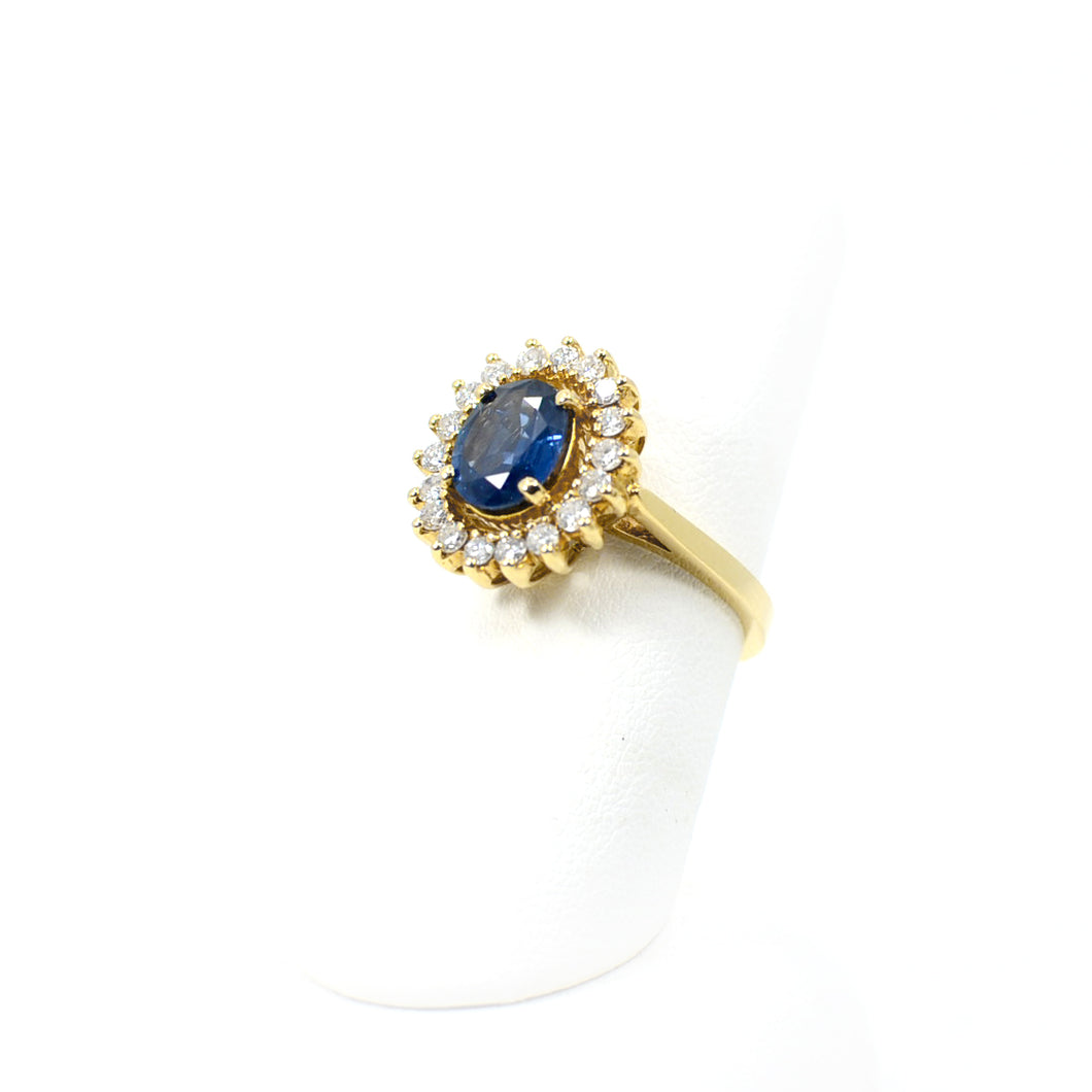 14 KT Yellow Gold Blue Sapphire LDS Ring