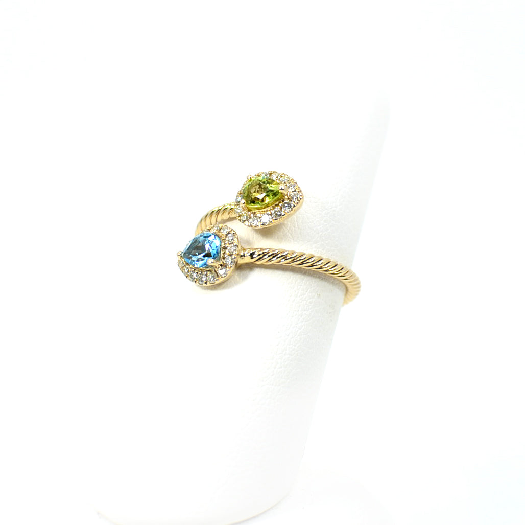 14 KT yellow Gold 2 Stone Pear Shape Blue Topaz and Peridot Fashion Ring