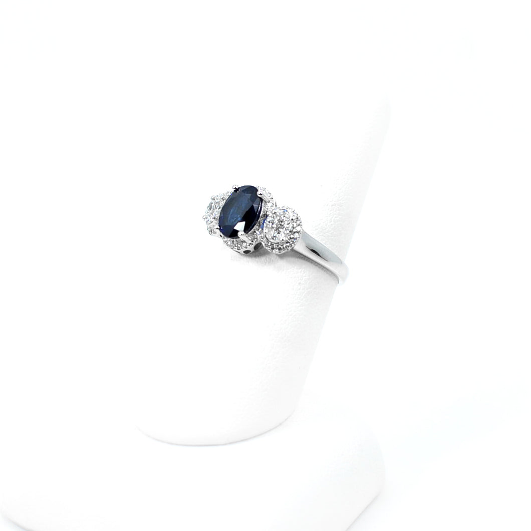 14 KT White Gold Oval Natural Sapphire Ring W/ Oval Halo