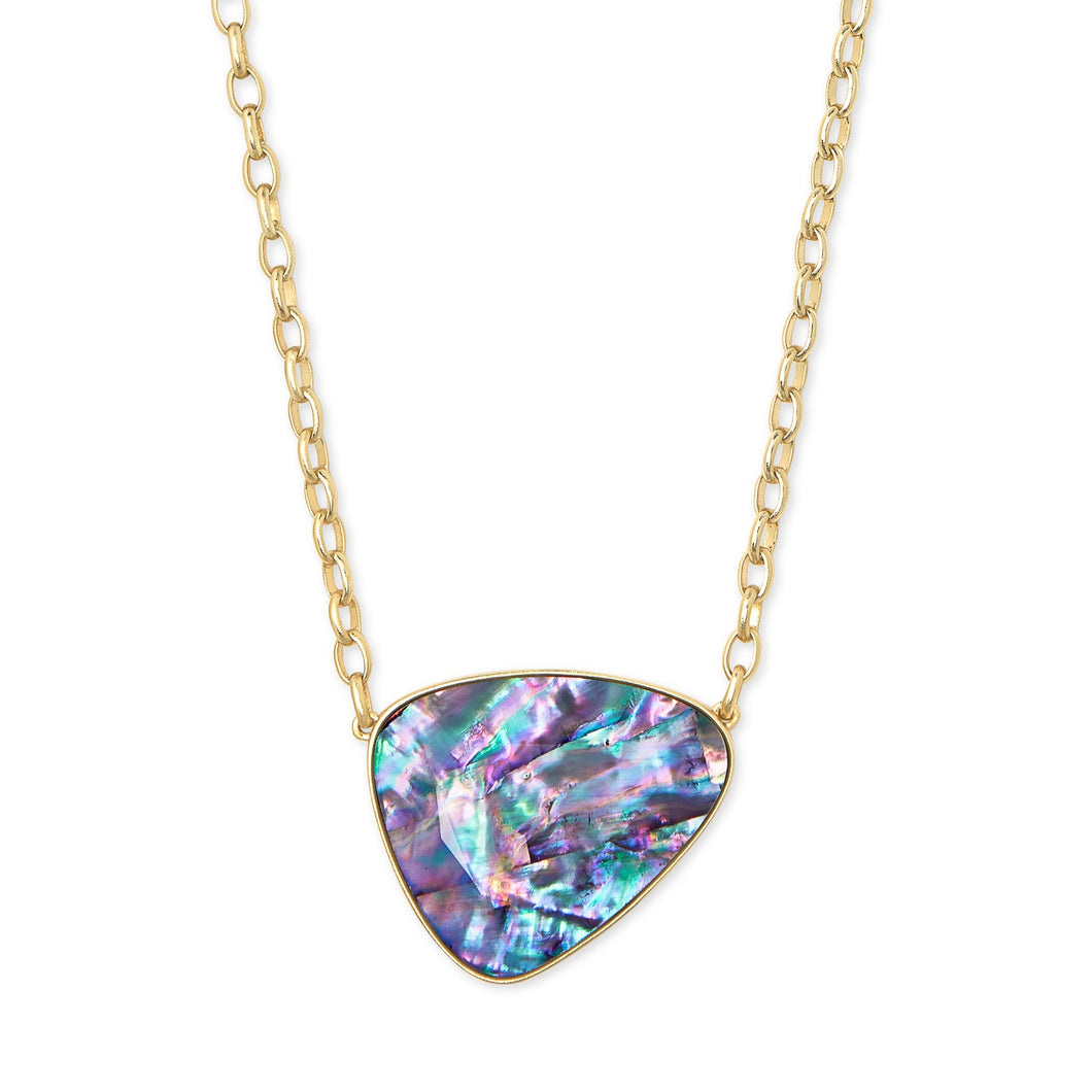 Kendra Scott | 14 KT Gold Plated Mckenna Pendant Necklace in Lilac Abalone