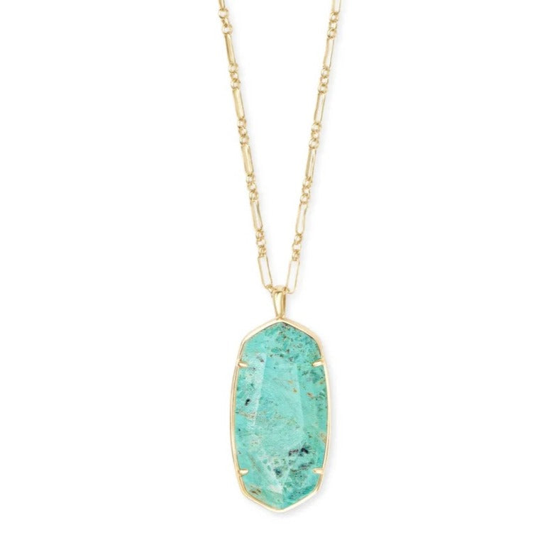 Kendra Scott | Faceted Reid Gold Long Pendant Necklace in Sea Green Chrysocolla