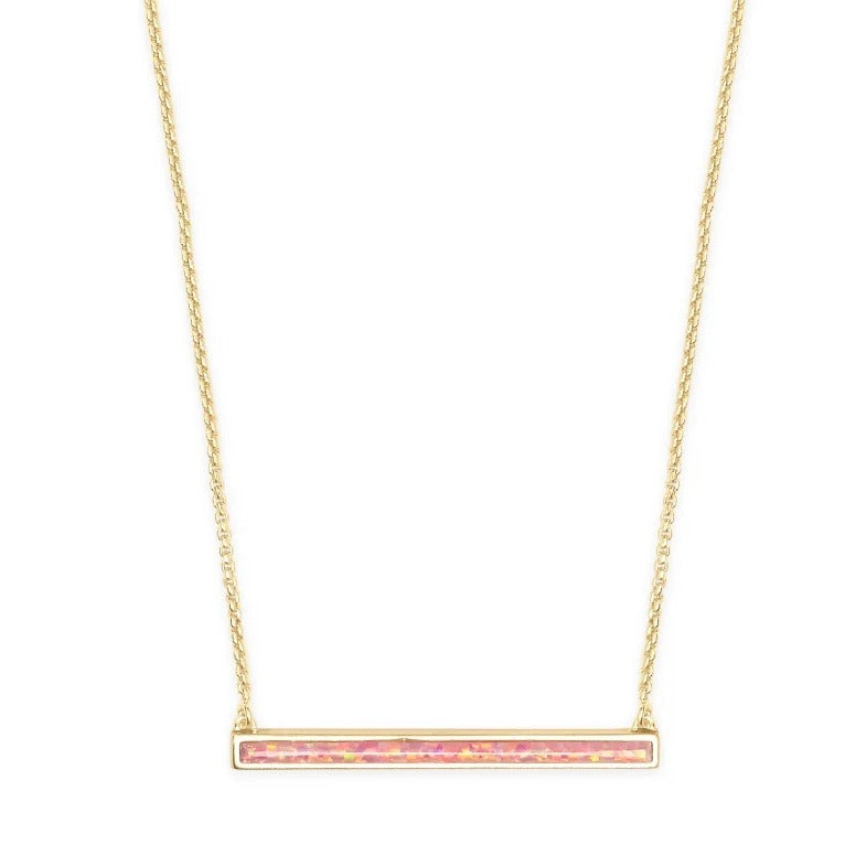 Kendra Scott | 14 KT Gold Plated Kelsey Short Pendant Necklace in Coral Kyocera Opal