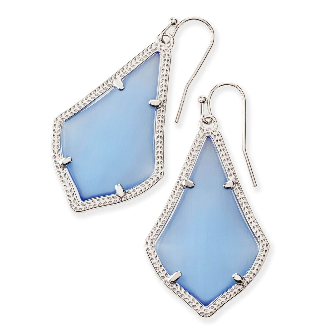 Kendra Scott | Silver Rhodium Plated Alex Periwinkle Cats Eye Drop Earrings