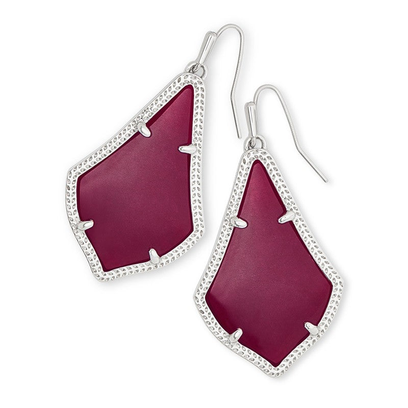 Kendra Scott | Silver Rhodium Plated Alex Drop Earrings in Maroon Jade Cats Eye