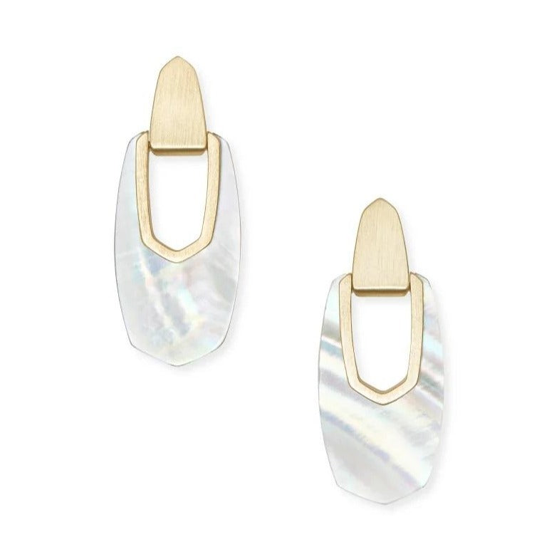 Kendra Scott | 14 KT Gold Plated Kailyn Drop Earrings in Ivory Mother of Pearl