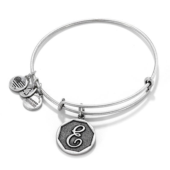 Alex and Ani | Rafaelian Silver Initial E Adjustable Bangle Bracelet