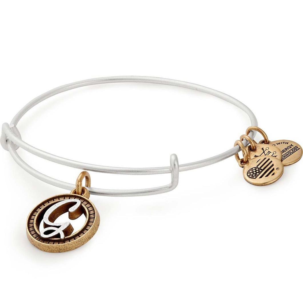 Alex and Ani | Two Tone Initial G Adjustable Bangle Bracelet Silver