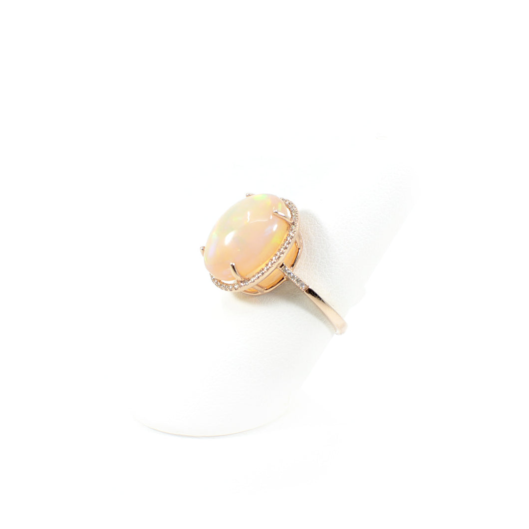 14 KT Rose Gold Oval Opal Ring W/ Diamond Halo