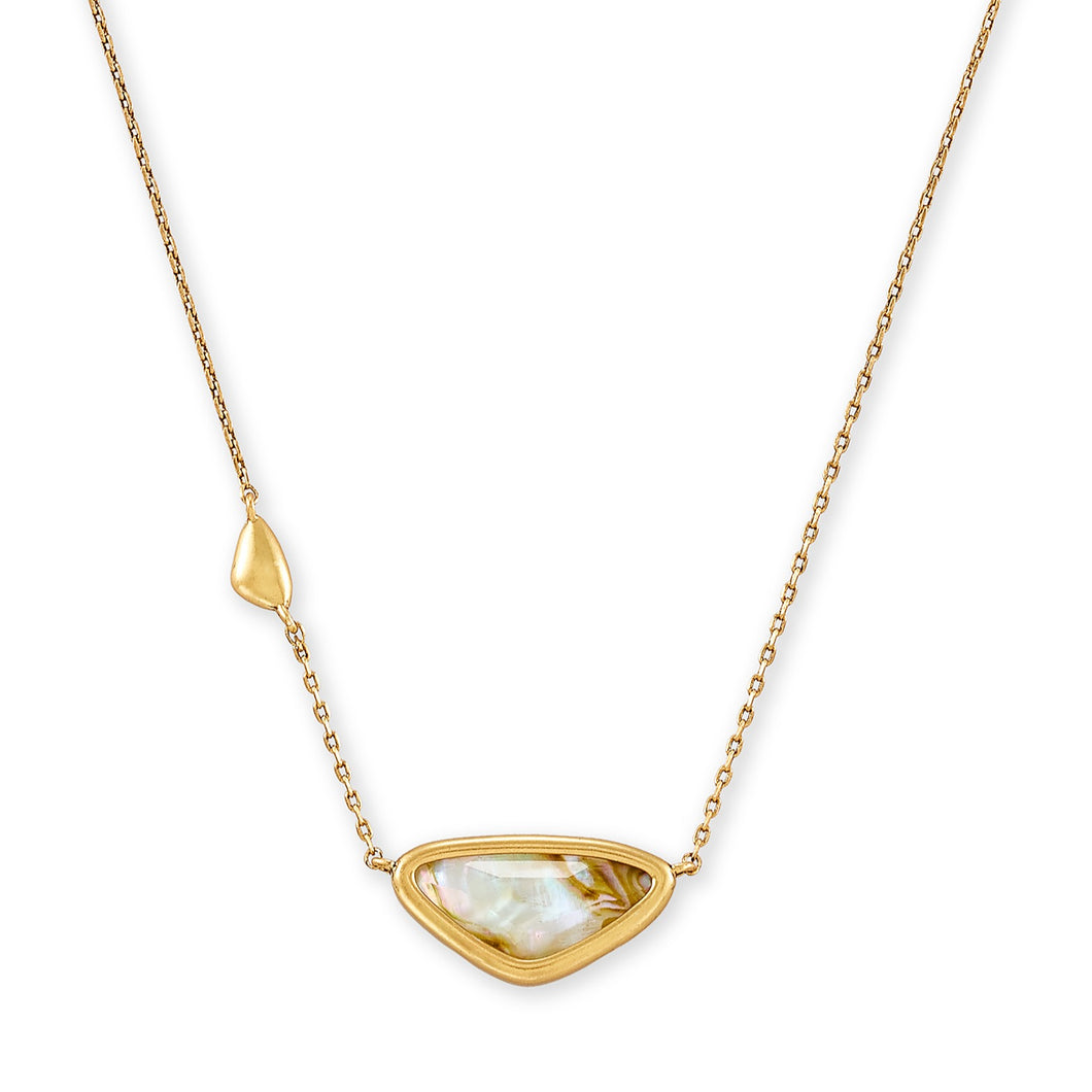 Kendra Scott | 14 KT Vintage Gold Plated Margot Short Pendant Necklace in White Abalone
