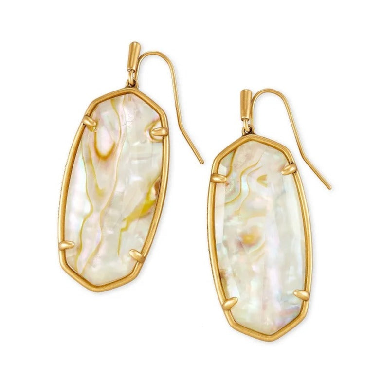 Kendra Scott | Faceted Elle Vintage Gold Drop White Abalone Earrings