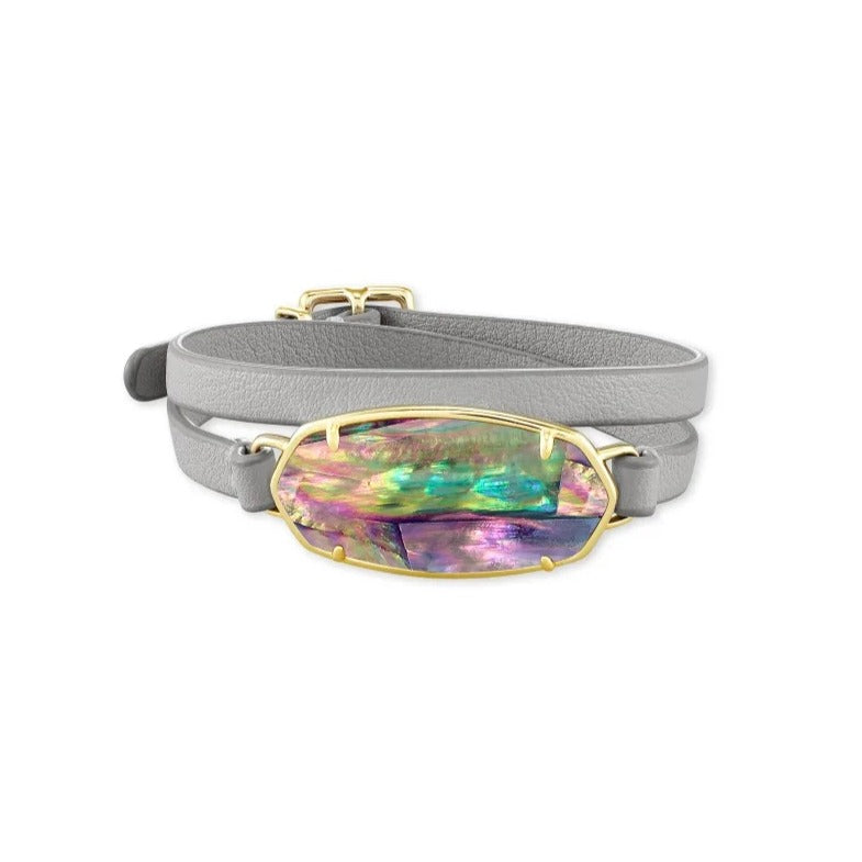 Kendra Scott | 14 KT Yellow Gold Plated Elle Wrap Bracelet in Lilac Abalone