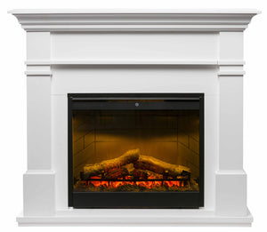 Kenton White Mantle with LED Firebox