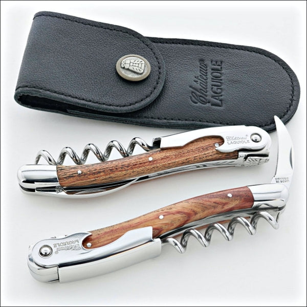 Chateau Laguiole Classic Corkscrews with rosewood handle and a black leather sheath