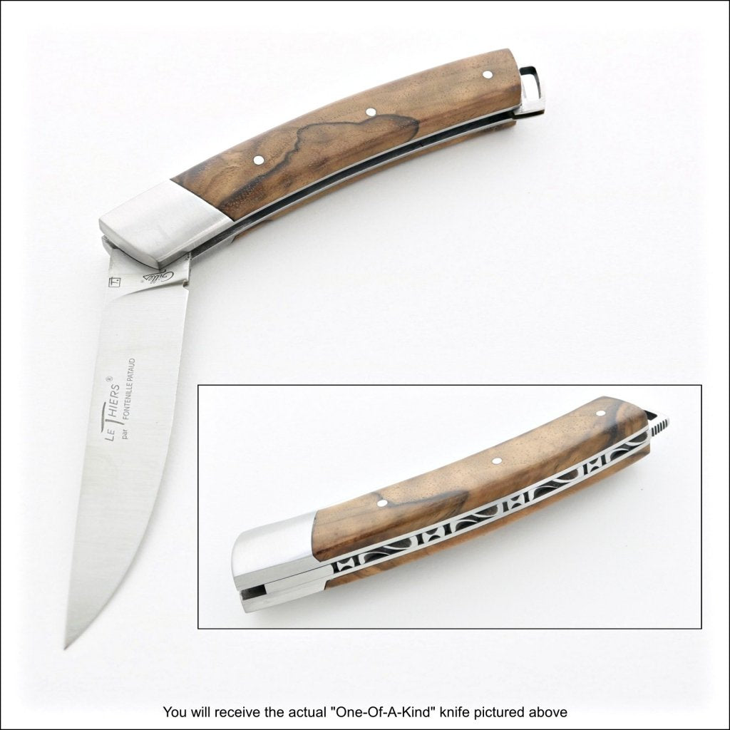 2 photos of a le thiers nature pocket knife walnut handle