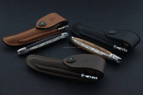 3 leather knife sheaths with pocket knives