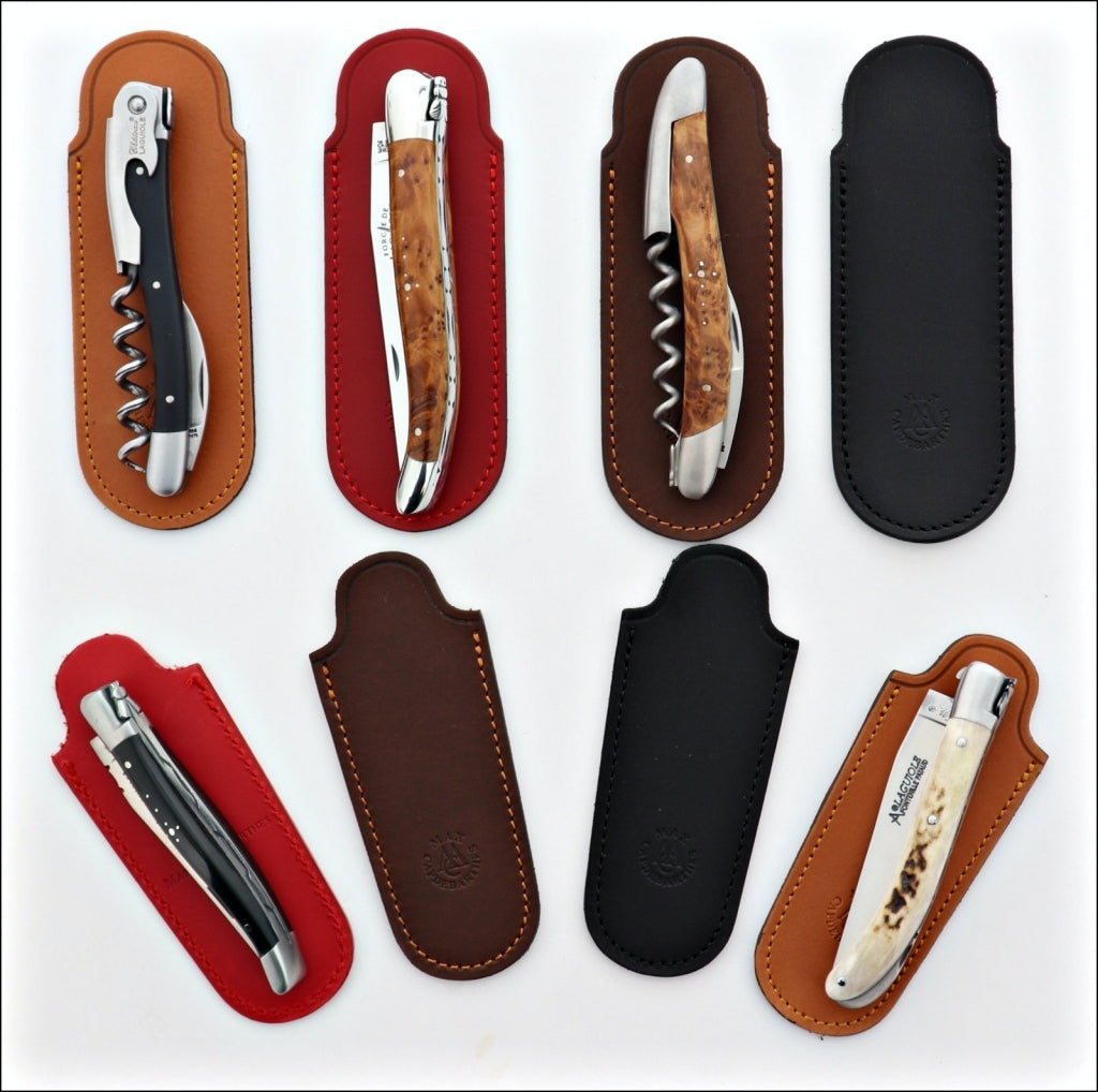 Pocket knives and Corkscrews leather sheaths made in France
