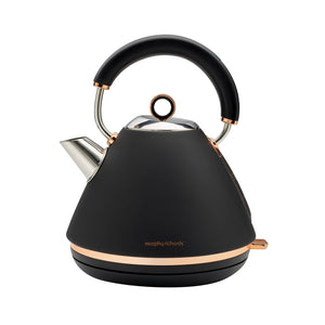 MORPHY RICHARDS Accents Rose Gold Black Traditional Pyramid Kettle