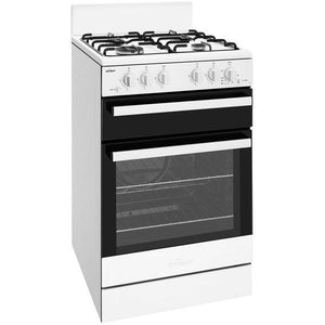 CHEF White 54cm freestanding gas cooker with conventional oven, piezo ignition, separate gas grill, flame failure and 4 burner gas hob.