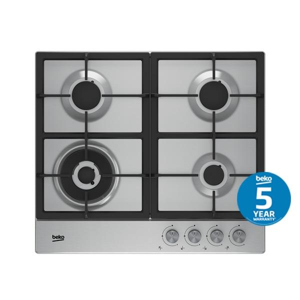 BEKO 60cm front-controlled Stainless Gas cooktop