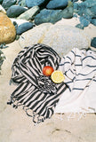 CLASSIC BLACK AND WHITE STRIPES - Handwoven Linen Towel