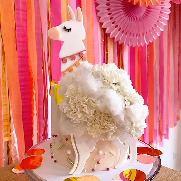 Llama 3D Head with Legs Cake Topper