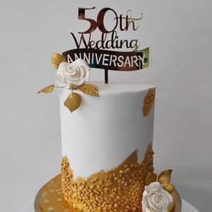 Banner Wedding Anniversary Cake Topper