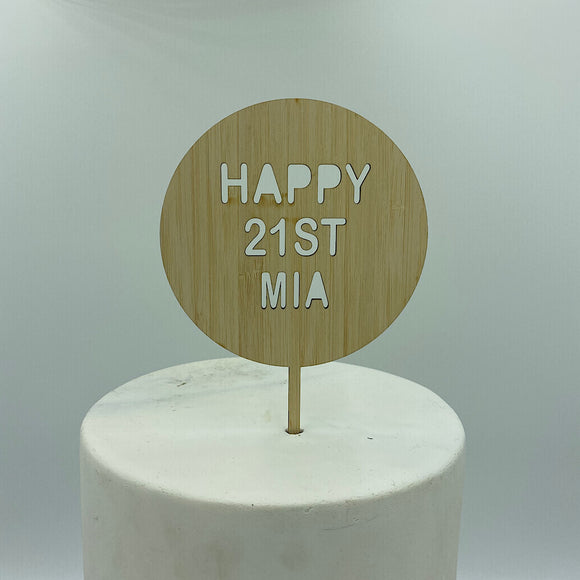 Circle Drop Out Word Cake Topper