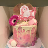 Pinky Unicorn Personalised Printed Cake Topper