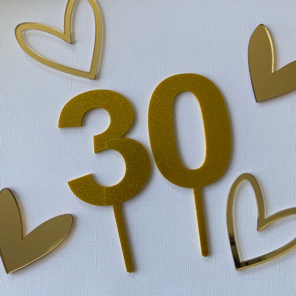 Gold Glitter Number Cake Topper - Ready Made