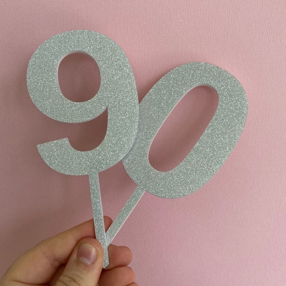 Silver Glitter Number Cake Topper - Ready Made
