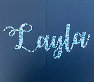 Leopard Print Name Script - 2 Sizes, Multiple Colours