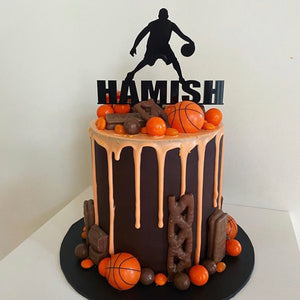 Basketball Bounce Name Cake Topper