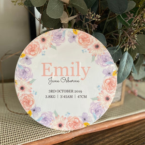 Pink & Purple Floral - Birth Details Plaque UV Acrylic