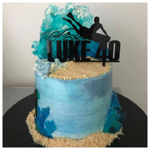 Body Boarding Beach Name & Age Cake Topper