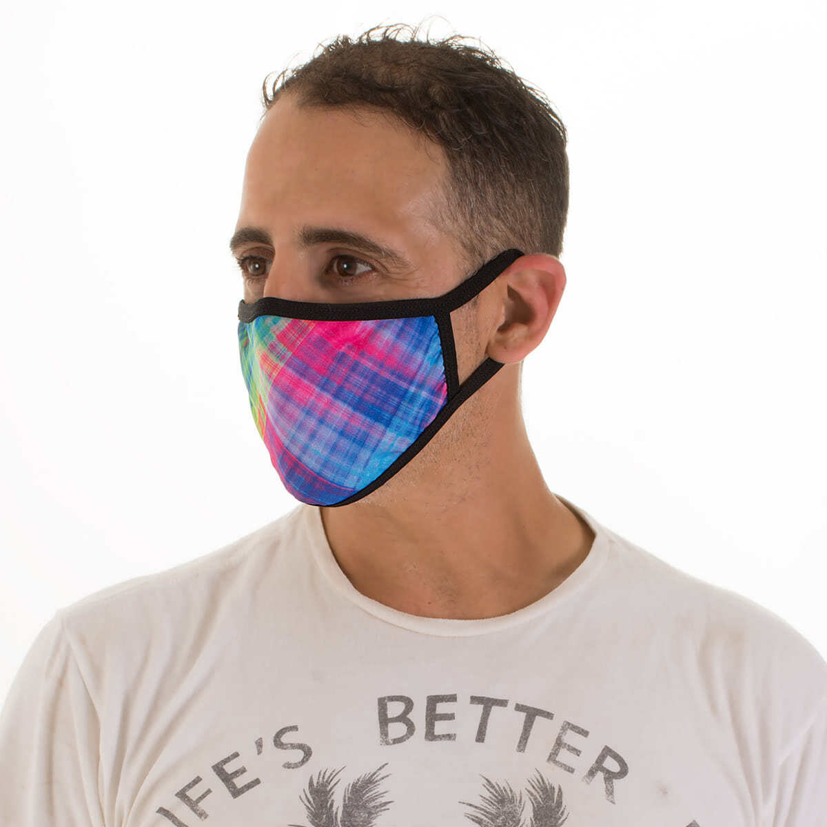 All New! Face Mask - Diagonal Plaid on Black