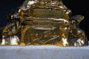 "Close up of bronze sculpture ""Golden Menorah"" by Salvador Dali"