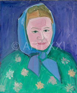 "Painting ""Paysanne Russe au foulard bleu"" by Catherine Zoubtchenko"