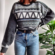 Dark grey unisex vintage jumper with green and white geometric pattern - L