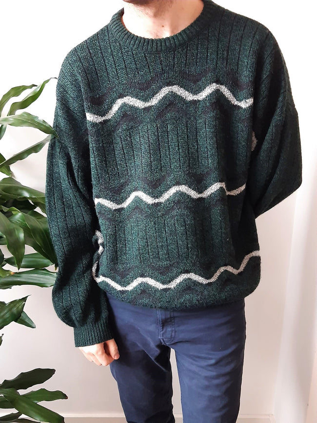 Dark green oversized vintage knit - L/XL