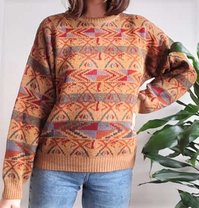 Dark orange unisex vintage jumper with aztec print - M