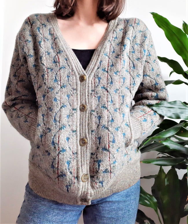 Geiger green and Grey thick patterned cardigan with pockets - S