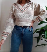 Vintage cream  V neck jumper - M