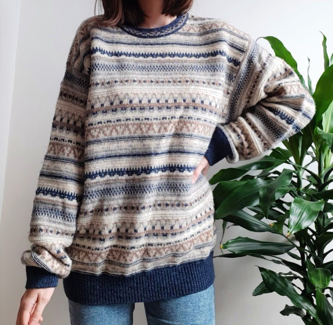 Malagrida vintage cream and blue nordic pattern jumper - L