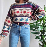 80s oversized patterned chunky knit jumper - M/L